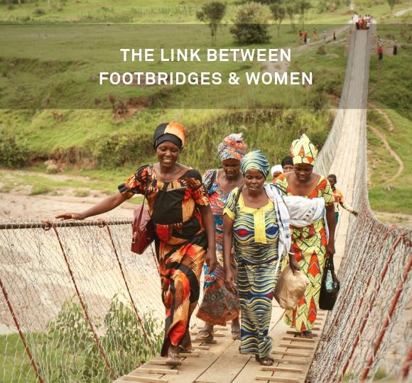 women walking over footbridges